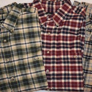Lot of 3 Mens Eddie Bauer Flannel Shirts Sz Large
